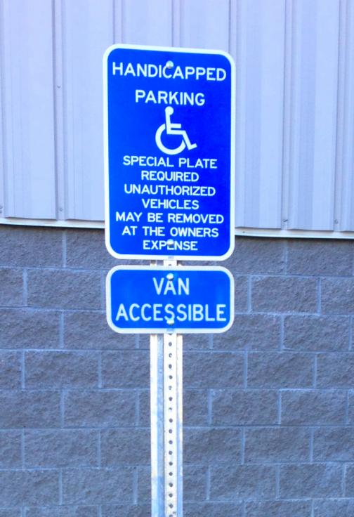 handicap parking sign van