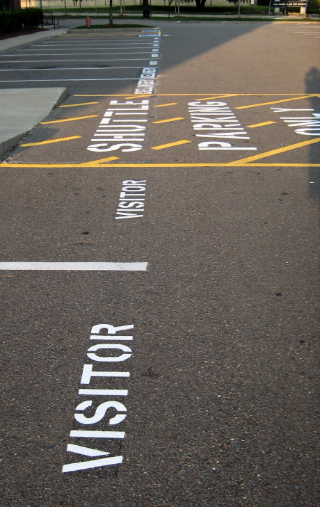 stenciled lettering on parking lot